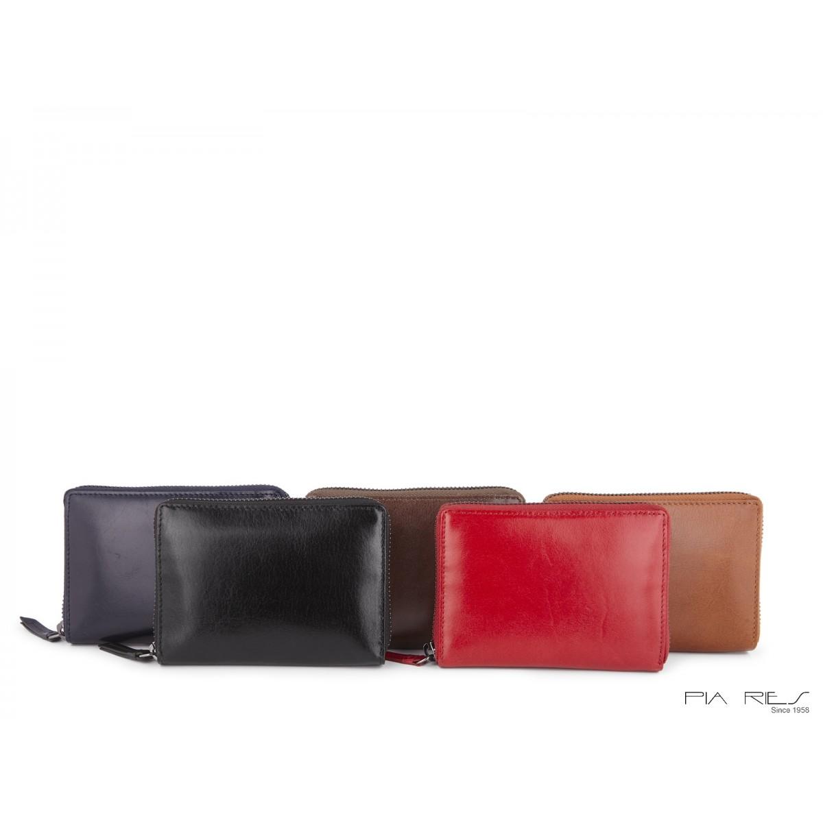 Damepung med kort og lynlås-Rød-33