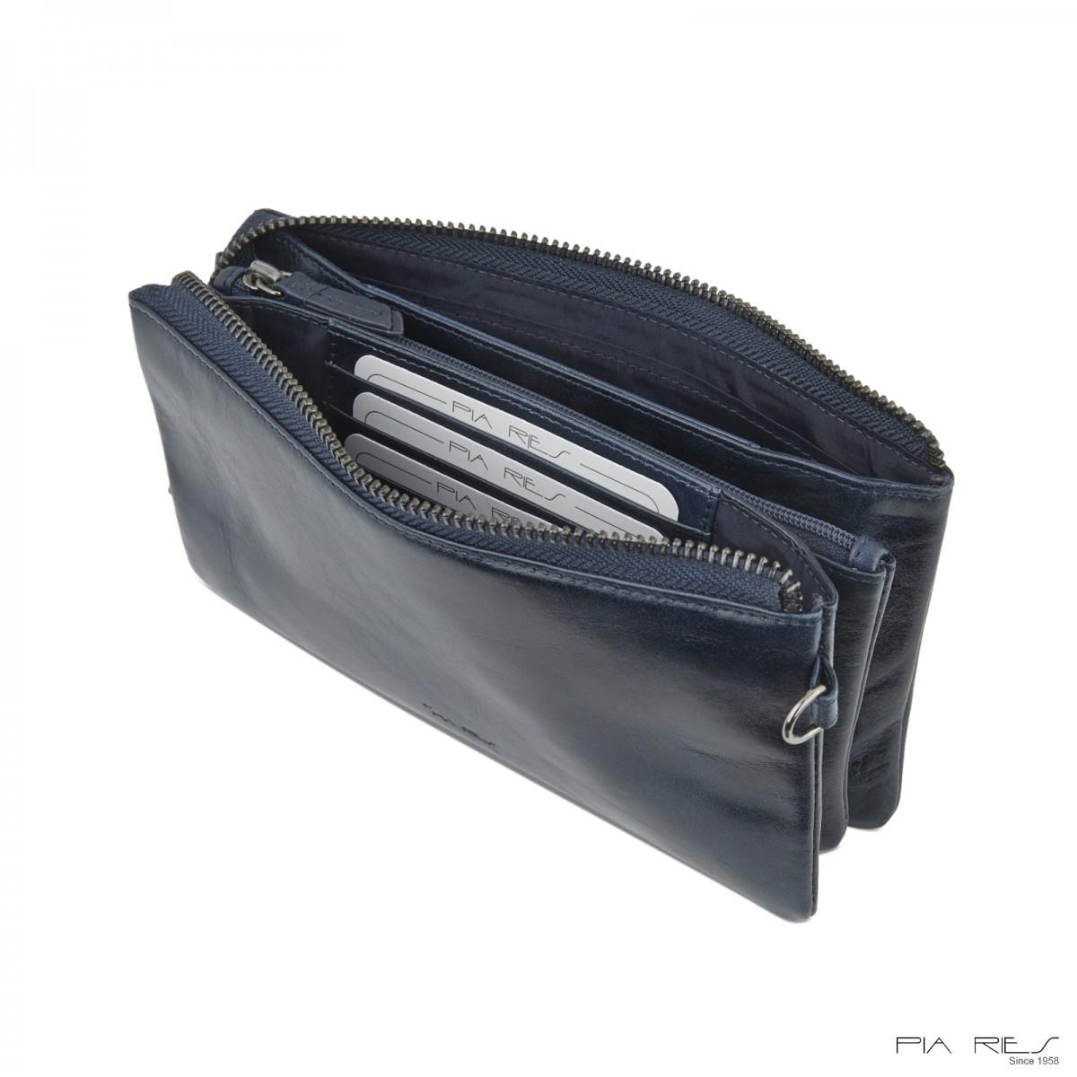 Clutch taske i Rain Crunch skind-Mørkeblå-35