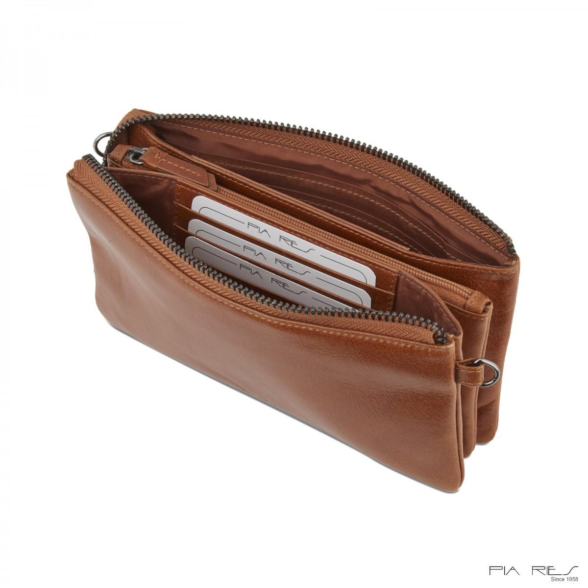 Clutch taske i Rain Crunch skind-Cognac-34