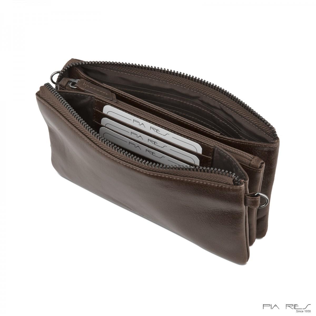 Clutch taske i Rain Crunch skind-Gråbrun-33
