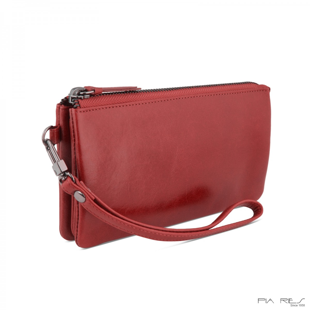 Clutch taske i Rain Crunch skind-Rød-33