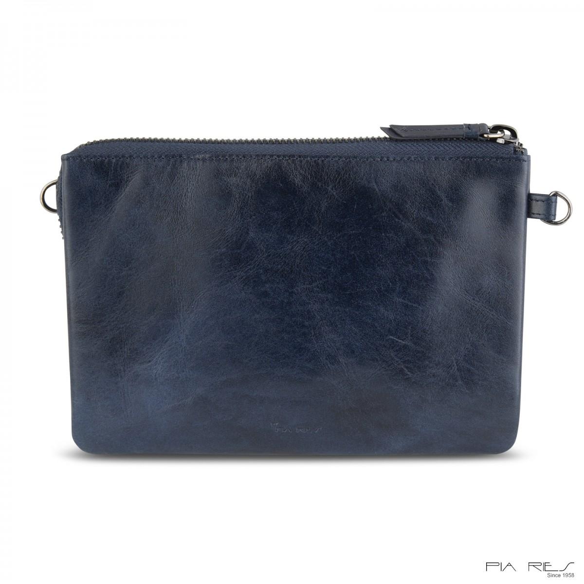 Clutch taske i Rain Crunch skind stor-Mørkeblå-32