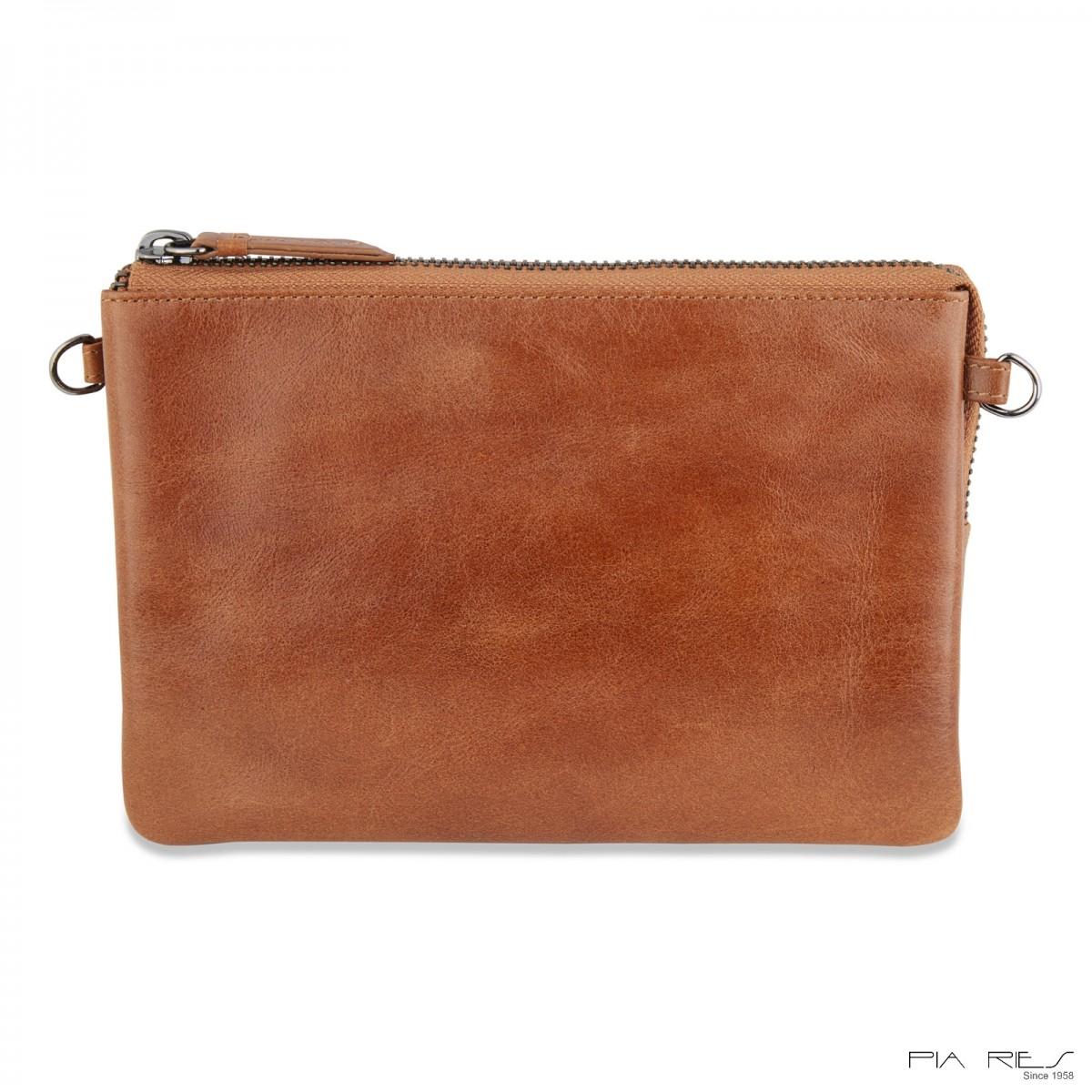 Clutch taske i Rain Crunch skind stor-Cognac-32