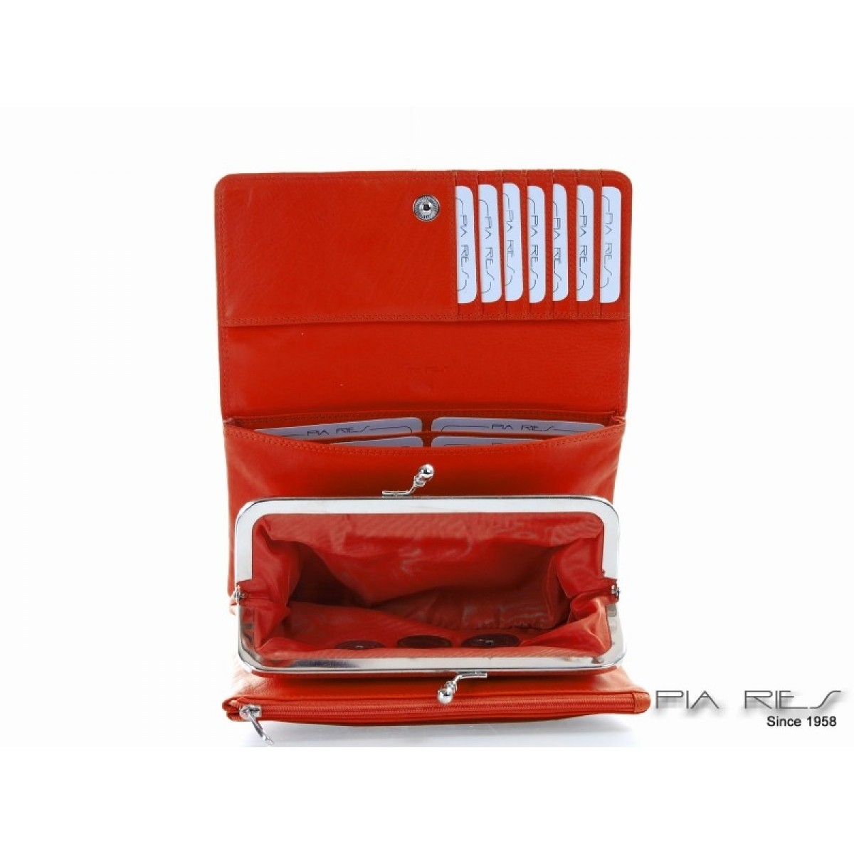 Skindtaske med bøjle i flotte farver orange-31