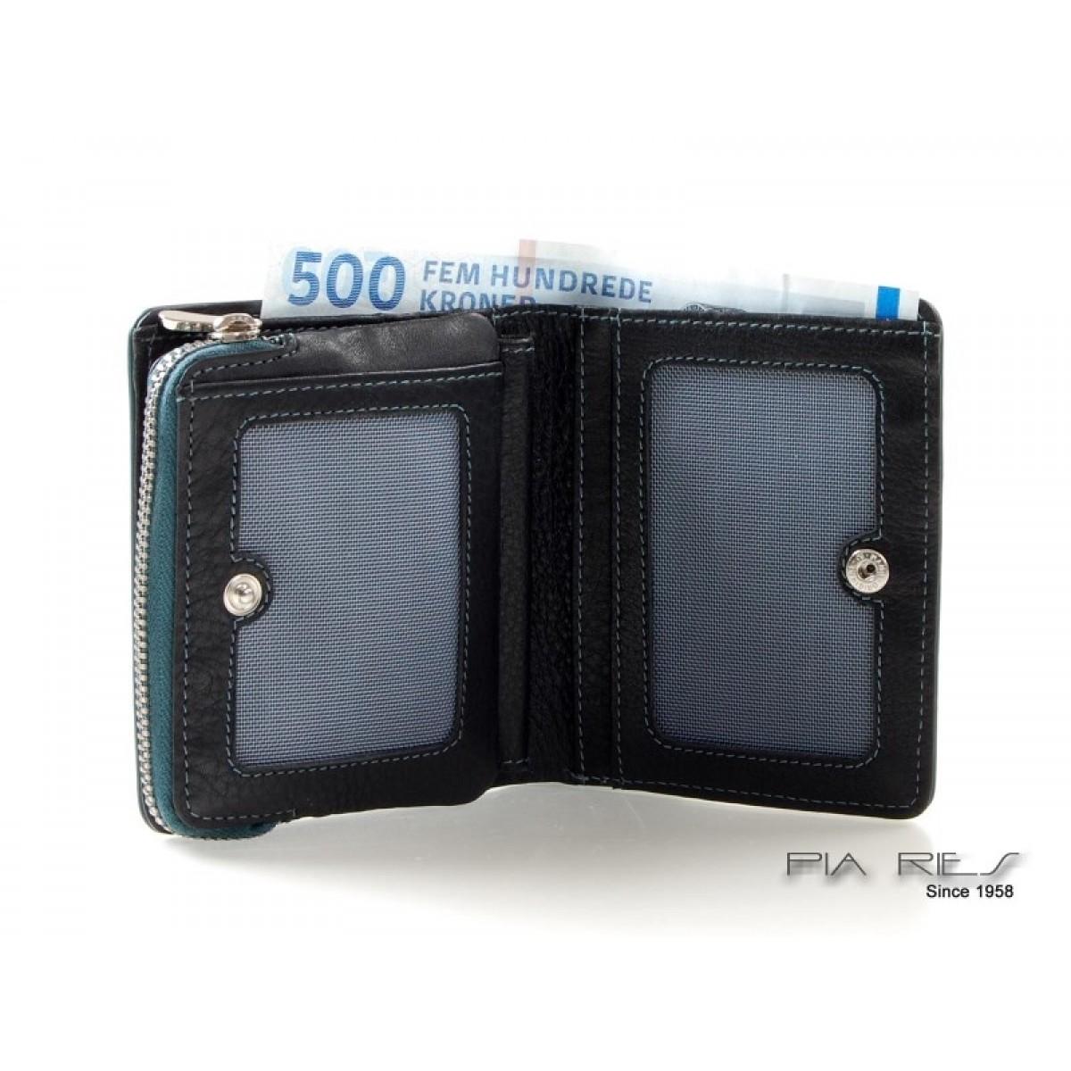 Pung til kort, sedler og mønter med farvede detaljer petrol-31
