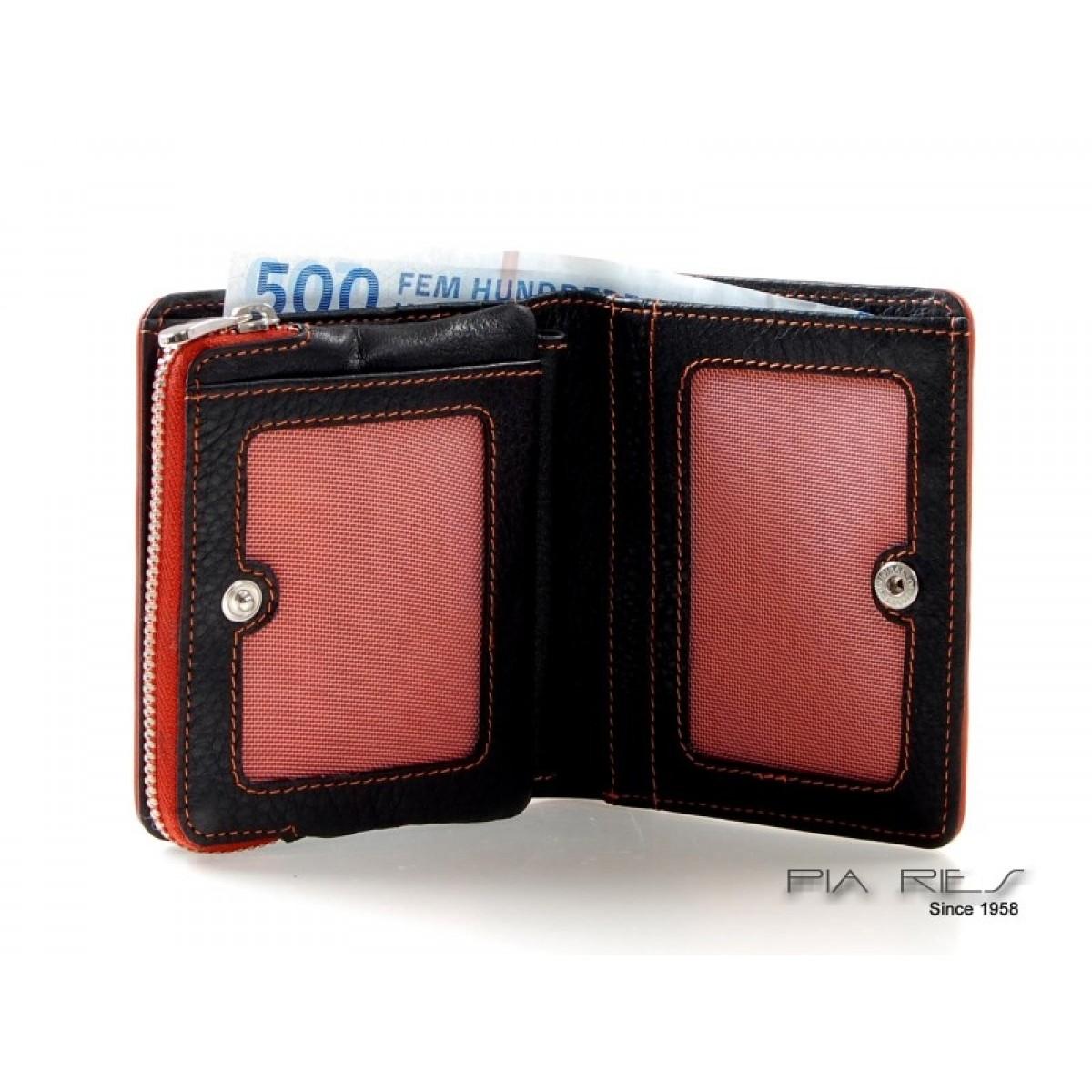 Pung til kort, sedler og mønter med farvede detaljer orange-31