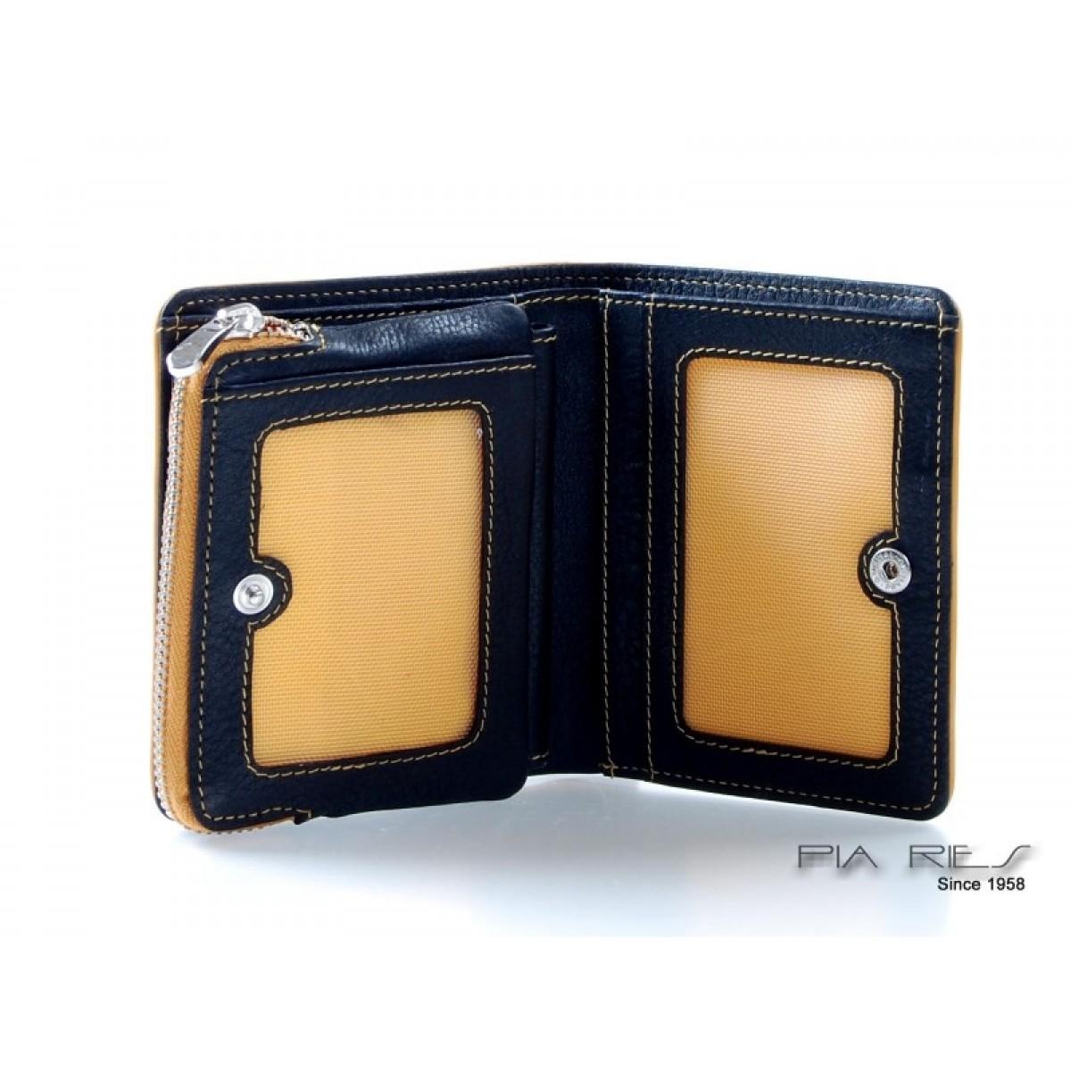 Pung til kort, sedler og mønter med farvede detaljer gul-31