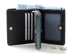Pung til kort, sedler og mønter med farvede detaljer petrol-20
